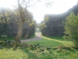 Looking through the castle from the river gate to the front gate